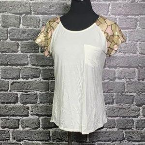 BKE Bucke Boutique Split Back Top sequin Slvs Sz S